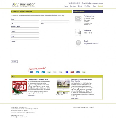 AV Visualisation Website Contact Page