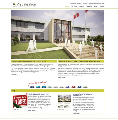AV Visualisation Website Home Page