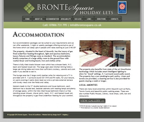 Bronte Square Holiday Lets Website Accomodation Page