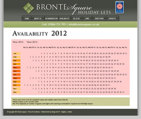 Bronte Square Holiday Lets Website Availablity Page