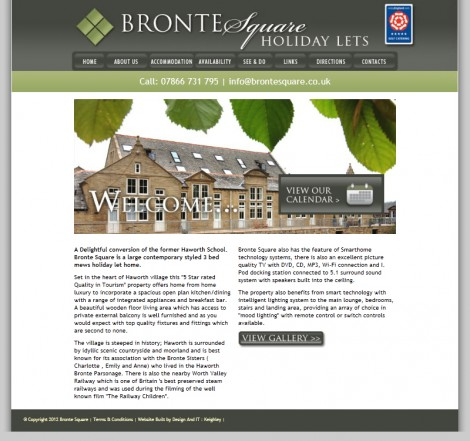 Bronte Square Holiday Lets Website Home Page